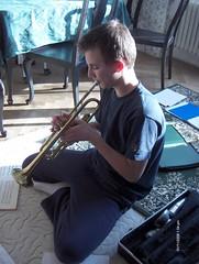 Blowing trumpet