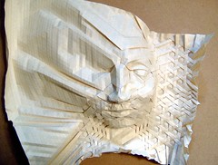 mask in progress - 2 (origami joel) Tags: face paper origami mask joel tessellation tesselation folding origamijoel