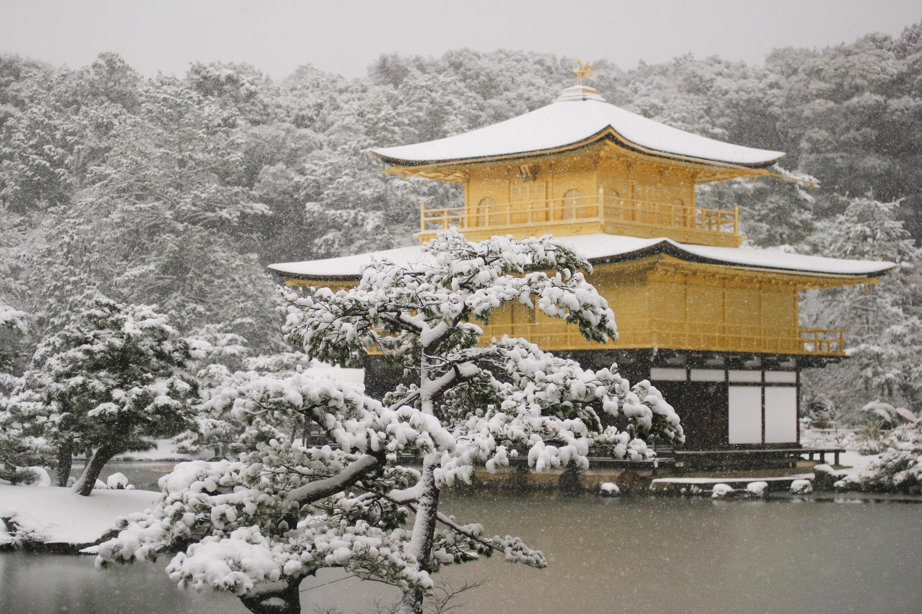 積雪の金閣寺