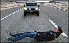 What was she thinking? (shadowplay) Tags: danger photoshop jeep roadtrip mojave roadkill northface asphalt lonepine foolish jessiqua 395