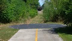 North End of the Major Taylor Trail (artistmac) Tags: railroad chicago bicycle illinois mountainbike tracks il trail schwinn biketrail trailhead majortaylor tankcars majortaylorbiketrail