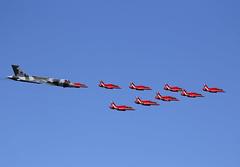 V Formation (Bernie Condon) Tags: vulcan red arrows formation avro bae hawk trainer bomber military warplane riat riat15 airtattoo tattoo ffd fairford raffairford airfield aircraft plane flying aviation display airshow uk xh558