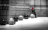 Great Expectations - Explored (DobingDesign) Tags: londonstreets london city balls graniteballs contrast redhair hatching sitting streetphotography street granite texture surreal porphyriticbasalt blackpearl sardiniangreygranite architecture terryfarrellpartners row staggered ball