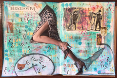 Art Journal J128 Race Against Time (karinaltarts) Tags: art artjournal mixedmedia collage race time raceagainsttime rush racesofman tick tock ticktock