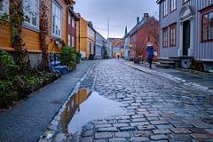 A rainy day at Bakklandet in Trondheim (Reidar Trekkvold) Tags: trondheim bakklandet by city norway rain reflection winter vinter street gate