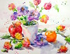 """a flying start"" - watercolour (Nora MacPhail) Tags: noramacphail watercolour watercolor art arte flowers floral still life etsy shop seller original painting paint drawing draw sketch follow friend clementine apple chinese lanterns"