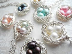 Knottin' Pearls Bird Nests for Spring/Summer/Winter/Fall (elmangels) Tags: jewelry jewellery necklaces colors cultured freshwater pearls triple nested eggs art handmade amazon etsy shop shopping accessories designer design product photography gift easter