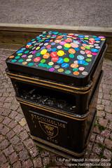 Sticker-Covered Rubbish Bin In Stockholm, Sweden