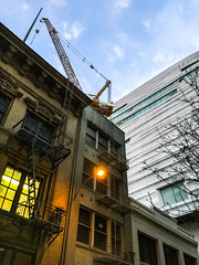 the new monster that's welcome (pbo31) Tags: sanfrancisco california city summer color june architecture construction alley unitedstates crane contemporary sfmoma structure soma tilt expansion 2015 boury pbo31 financialdistrictsouth iphone6