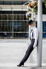 2015_07_30 Georgia W 124 WM (Sendall) Tags: portrait sexy london beautiful beauty hat fashion braces gorgeous tie location blonde stunning editorial suspenders canarywharf androgyny trilby whiteshirt androgynous isleofdogs boyfriendshirt
