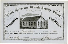 Bell Shares Certificate, Third Moravian Church Sunday School, Harrowgate, Philadelphia, Pa., ca. 1870s (Alan Mays) Tags: ephemera sharecertificates stockcertificates certificates religiousephemera paper printed stocks shares scripophily moravian thirdmoravianchurch moravianchurch churches religion religious sundayschools education bell churchbells buildings steeples illustrations vignettes curves curvedtext textonacurve fundraisers fundraising fillintheblanks harrowgate philadelphia pa pennsylvania 1870s borders 19thcentury nineteenthcentury victorian antique old vintage typefaces type typography fonts sensemanson printers