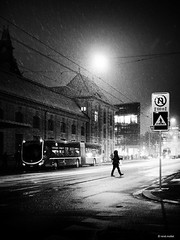 no turnaround on the next few meters! (René Mollet) Tags: snow snowfall earlymorning night nightshot blackandwhite basel bw monchrom monochromphotographie penf renémollet street streetphotography shadow silhouette station sbb schwarzweiss