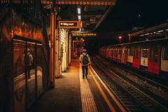 Way out (przemyslawkrzyszczuk) Tags: london londyn uk britain england anglia brytania city miasto blue dark night life style lifestyle light citylights swiatlo canon 6d ludzie people street ulica londoner londynczycy out way wyjscie train metro tube underground man black red