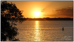 Golden Moments... (juliewilliams11) Tags: outdoor sunset photoborder serene sky shore landscape water cloud person fishing gold contrast cokin filter gnd light portstephens newsouthwales australia