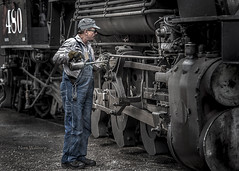The Oiler (Pragmatic1111) Tags: nikon d700 oiler oil train locomotive steamengine silverton colorado gray dirt dirty overalls oilcan boots 480 steam railroad narrowgauge durango