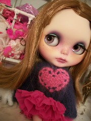 The world needs more love...... (simplychictiques) Tags: blythe ooakcustomblythedoll beatricevestcustom haircutbyme bvlimitededition gbabydolls gbabycustom childlike buttoncottagesweater landofcloudspetticoat valentines heart spokanewashington toys freckles pout naturallighting nixie
