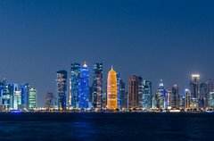 ABM (Another Blue Monday) / Skyline of Qatar in the evening (Frans.Sellies) Tags: img6464lr2 doha qatar قطر