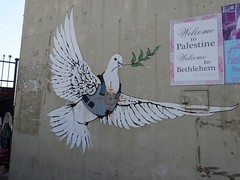 "Banksy art ""Armored Dove"" in Bethlehem"