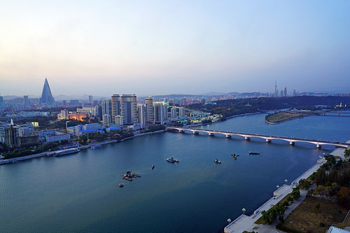 Taedong river from Juche Tower in the evening hour, Pyongyang