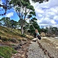 Daisy on the tyre swing. Sheoak Point. Bruny Island.