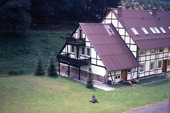 img368 (foundin_a_attic) Tags: europe 35mm slide 1970s house trees graden lawn black white brown flowers wooden stone