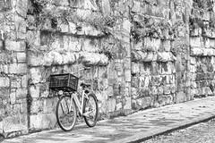 Fiets tegen muur in Maastricht (aj.lindeboom) Tags: plaatsen maastricht bicycle fiets muur zwartwit blackandwhite album 02afdruklidl mensenenstraat miksang