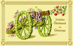 1909 Blumenkanone Geburtstagsgruss (zimmermann8821) Tags: blumen blumenarrangement druck geburtstag grafik gruskartefeiertag postkarte reliefdruck kanone blumenkanone blumenstraus