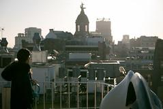 Roof of Barcelona (ervega) Tags: arquitectura landscape europa gaudi urbano europe nostalgic batllo casa domo dome pensativa pensando nostalgia techo paisaje spain barcelona mujer woman house roof architecture girl urban thinking españa batlo catalunya es