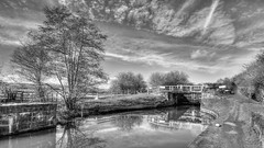 Canal Lock (darrenball189) Tags: scenic sky space rural route outdoors path relaxing towpath view water waterway uk transport transportation travel trees nottinghamshire countryside cycle cycling derbyshire canal boating british east midlands lock narrow nature landscape england english erewash black white monochrome mono nikon d7200 tokina 1116mm