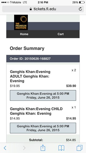 Tickets for Genghis Khan Exhibit by Wesley Fryer, on Flickr