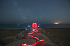 Light Orb in Hengistbury Head #1 (Olliee Bell) Tags: longexposure light red lightpainting beach night stars star interesting rocks head orb location explore trail dorset groyne bournemouth lightgraffiti hengistbury