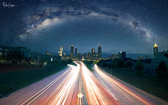 Just My Imagination, Once Again. Running Away With Me. (Karnevil) Tags: road city longexposure bridge atlanta usa cars skyline architecture night photoshop ga dark georgia stars star nikon downtown nightshot outdoor atl wideshot wideangle galaxy freeway astronomy intersection 4thofjuly heavens cosmos constellation photoshopping temptations milkyway lightstreaks carlsagan d610 jacksonstreetbridge urbanshot interstellar jacksonstreet vialactea justmyimagination starstuff justmyimaginationrunningawaywithme fotoartistry cosmicocean galictic petekrepsphotography
