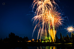 Canada Day Fireworks (Camera_fanatic) Tags: trees red holiday canada color colour night photoshop landscape lights long exposure angle pentax fireworks explosion wide celebration national adobe canadaday tamron celebrate explosive 30seconds lightroom 18270 k30
