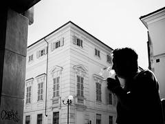 Smoker (Cava AL) Tags: street people bw white black gente cigarette streetphotography bn persone smoker bianco nero humans alessandria monocrome sigaretta 2015 em10 riccardocavallaro