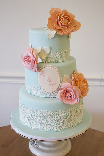 Sky Blue Sugar Lace and Spring Flowers Wedding Cake