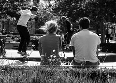 North Terrace Seating Project 072 (Mike Flynn Adelaide) Tags: adelaide adelaidestreetphotography streetphotography skaters northterrace blackandwhite