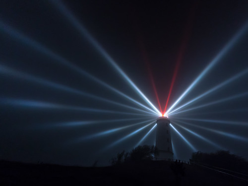 Lighthouse Dornbusch/Hiddensee in foggy night