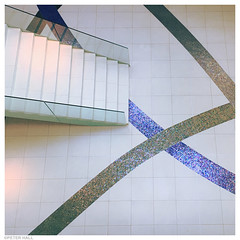 Foyer (peterphotographic) Tags: 20160723190045ed1sqcb2ccrossbedwm apple iphone 6s square camerabag2 ©peterhall split dalmatia croatia europe foyer hotel radissonblu stairs staircase blue sparkle floor lookdown fromabove modernarchitecture holiday summerholiday clean