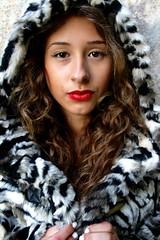 Fashion Shoot (Lucie Bevan Photography) Tags: location locationshoot fashion fashionshoot stripy red redlips lipstcik jacket hood tiger white blackandwhiteandred morrocan