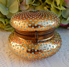 Vintage Moser Glass Powder Jar ~ Enamel Beading Gold Encrusted Brass (Donna's Collectables) Tags: vintage moser glass powder jar ~ enamel beading gold encrusted brass