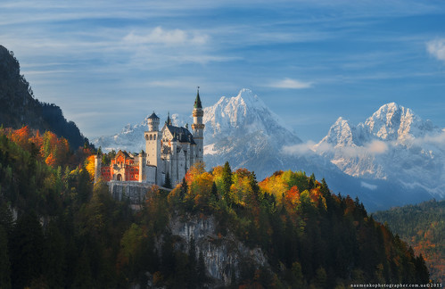 Germany. Bavaria. Panorama Neuschwanstein Castle