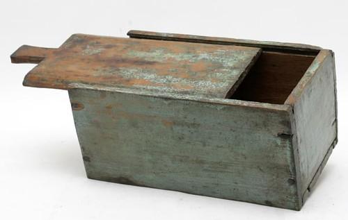 19th Century Painted Yellow Pine Slide Top Candle Box, Hiram Worden ($588.00)