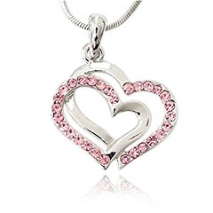 Pink Crystal Double Heart Charm Pendant Necklace Fashion Jewelry (goodies2get2) Tags: 25to50 amazoncom bestsellers crystal