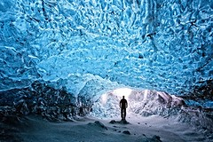 Crystal Ice Cave - Iceland (Alan Amati) Tags: amati alanamati iceland nature natural ice cave crystal glacier person man entry entrance winter south coast topf25 topf50 topf75 topf100 topf200 topf300