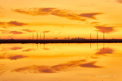 Sunset reflections (Valley Imagery) Tags: sunset cloud reflection yellow power flat smoke sony south towers salt australia valley electricity generation imagery a77ii