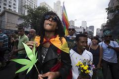 Marcha da Maconha 2015 (Caio Brito) Tags: street gay brazil flower march rainbow weed sãopaulo flag protest photojournalism smoking sp lgbt marijuana hemp fotojornalismo