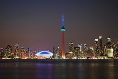 Toronto (Marcanadian) Tags: park city sunset summer sky lake toronto ontario canada building sports ferry skyline architecture night island islands evening am downtown cityscape waterfront view dusk centre games american harbourfront pan olympics 2015
