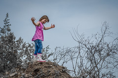 Queen of the castle... (KWPashuk) Tags: playing ontario canada kids outside climb nikon hill grandkids princeedwardcounty nikkor70300mm d7200 kwpashuk kevinpashuk
