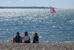 Sailboat watchers (ORIONSM) Tags: ocean sea summer beach boat waves sony shore solent sail rx100
