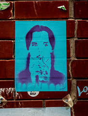 Blue girl drinking (PDKImages) Tags: art street manchesterstreetgallery manchesterstreetart streetart contrasts couple love artinthecity ripartist faces abandoned girl bee bees manchester walls posterart stencilart heart hidden dmstff cityscape cityscene